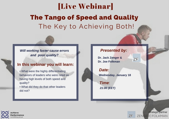 Webinar_January 2017_The Tango of Speed and Quality
